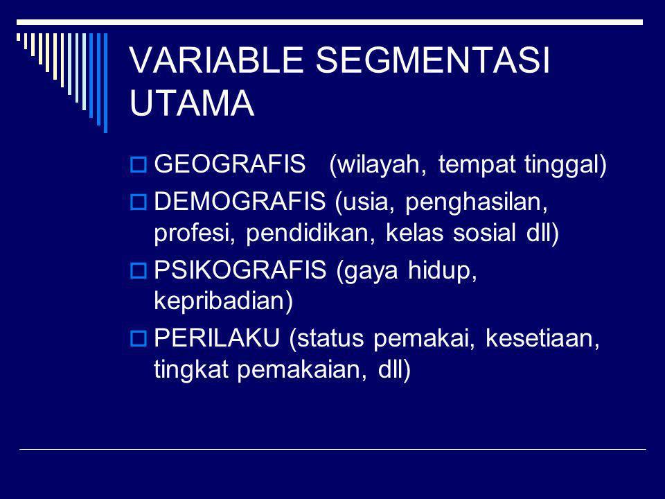 VARIABLE SEGMENTASI UTAMA
