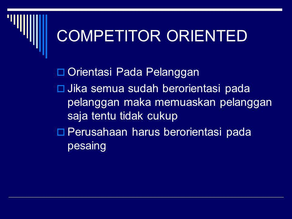 COMPETITOR ORIENTED Orientasi Pada Pelanggan