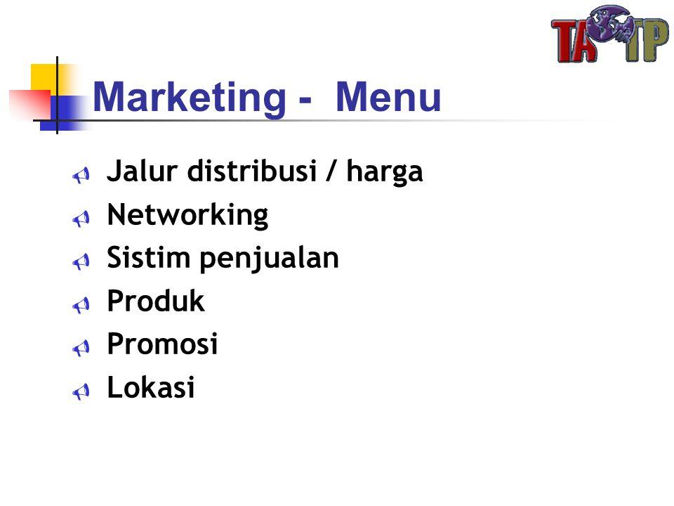 Marketing - Menu Jalur distribusi / harga Networking Sistim penjualan