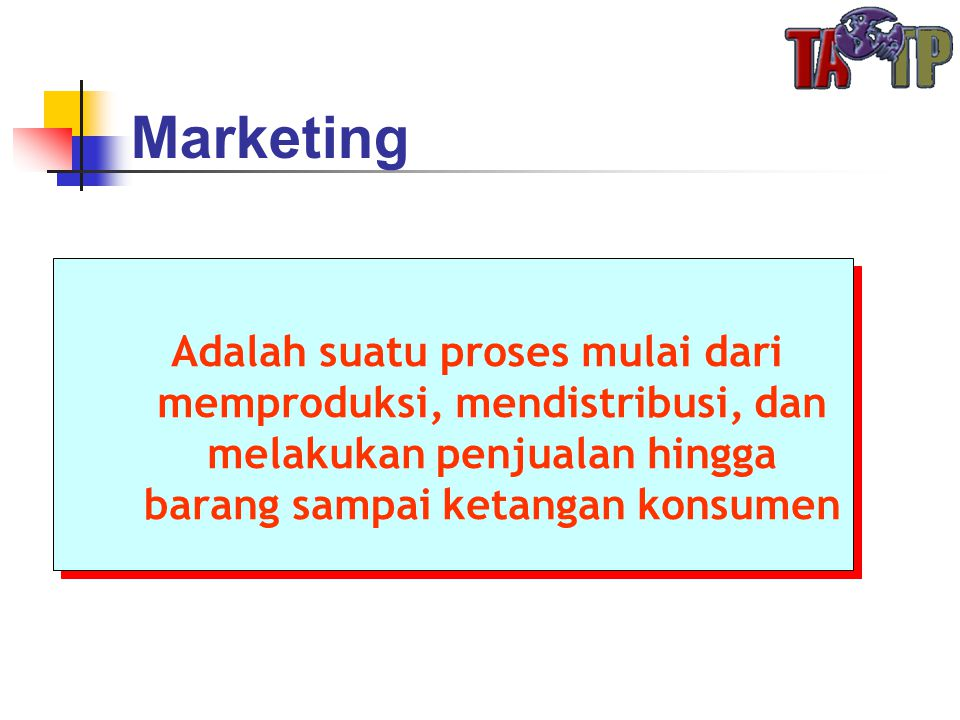 Marketing Adalah suatu proses mulai dari memproduksi, mendistribusi, dan melakukan penjualan hingga barang sampai ketangan konsumen.