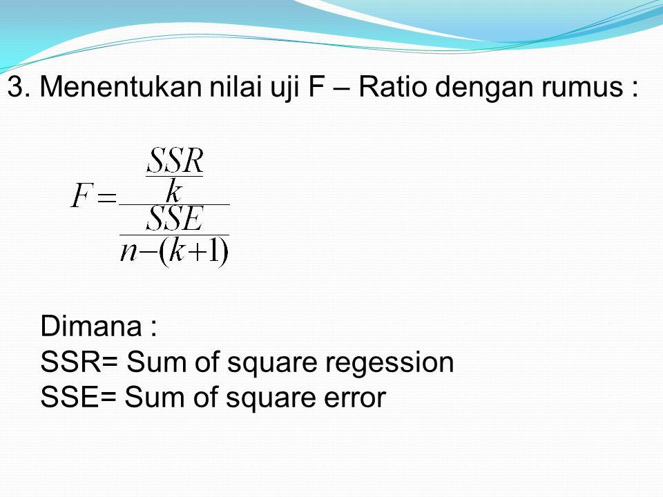 3. Menentukan nilai uji F – Ratio dengan rumus :
