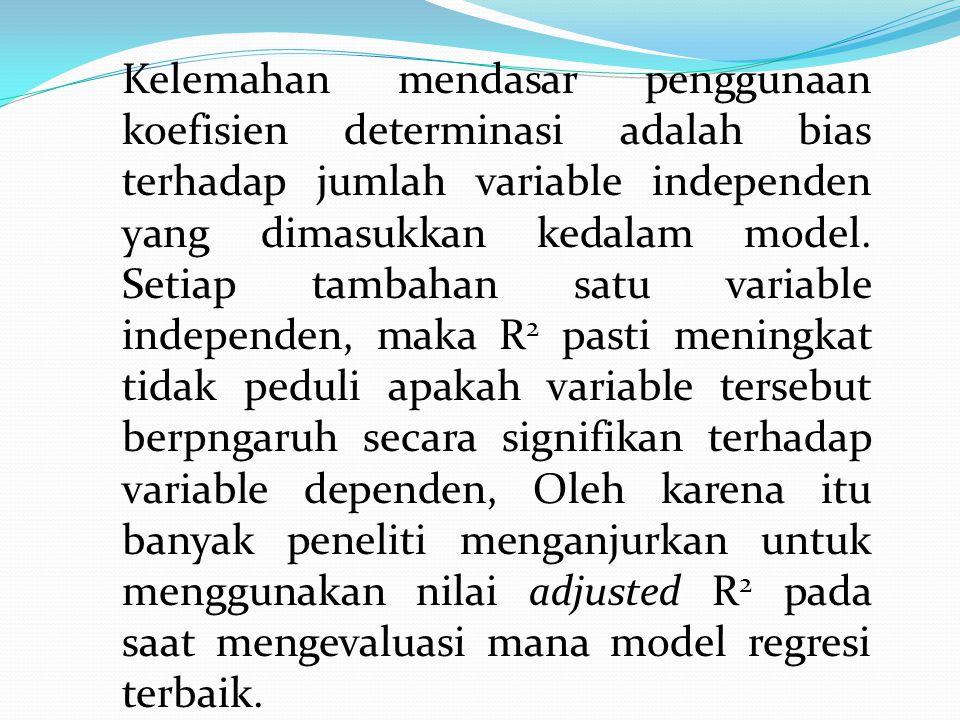 Kelemahan mendasar penggunaan koefisien determinasi adalah bias terhadap jumlah variable independen yang dimasukkan kedalam model.