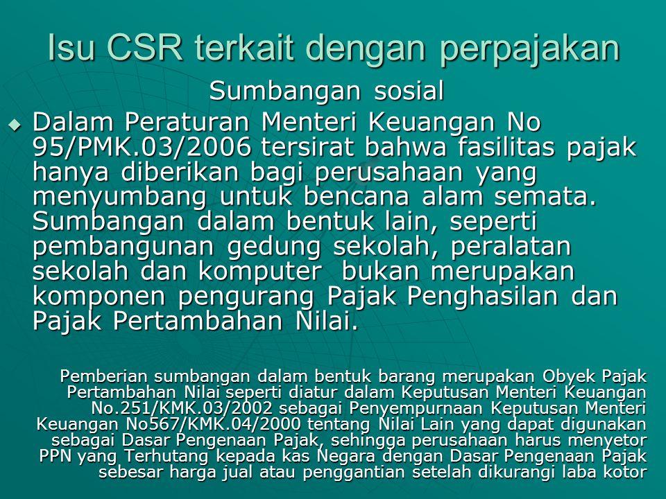 Isu CSR terkait dengan perpajakan