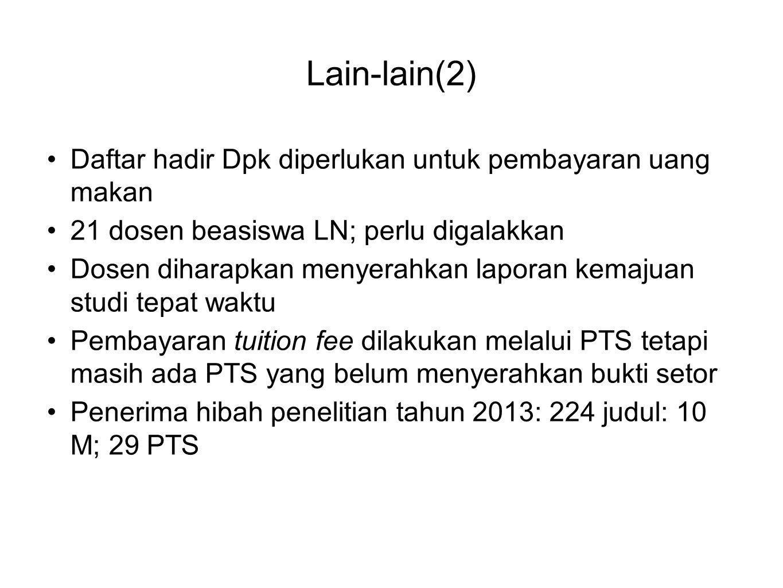 Lain-lain(2) Daftar hadir Dpk diperlukan untuk pembayaran uang makan