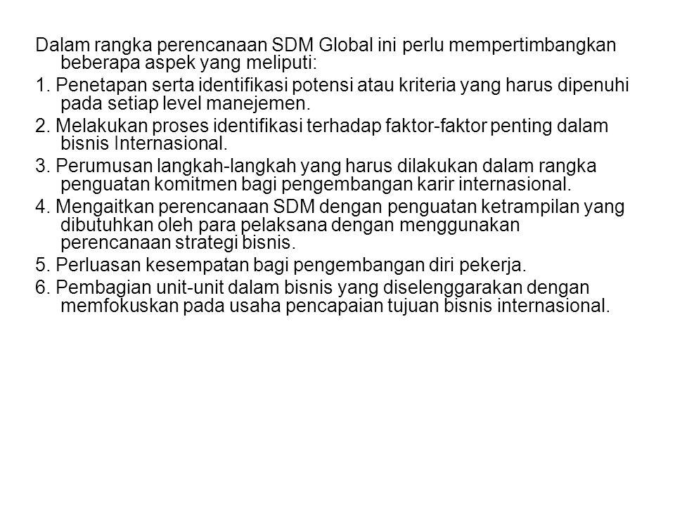 Dalam rangka perencanaan SDM Global ini perlu mempertimbangkan beberapa aspek yang meliputi: