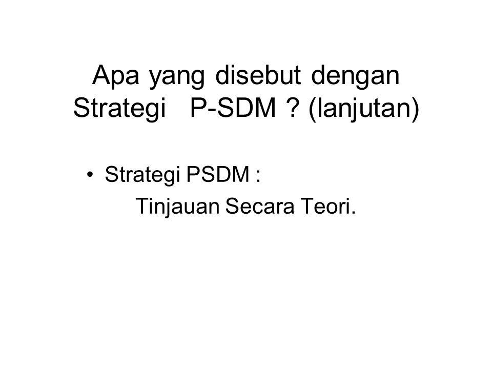 Apa yang disebut dengan Strategi P-SDM (lanjutan)