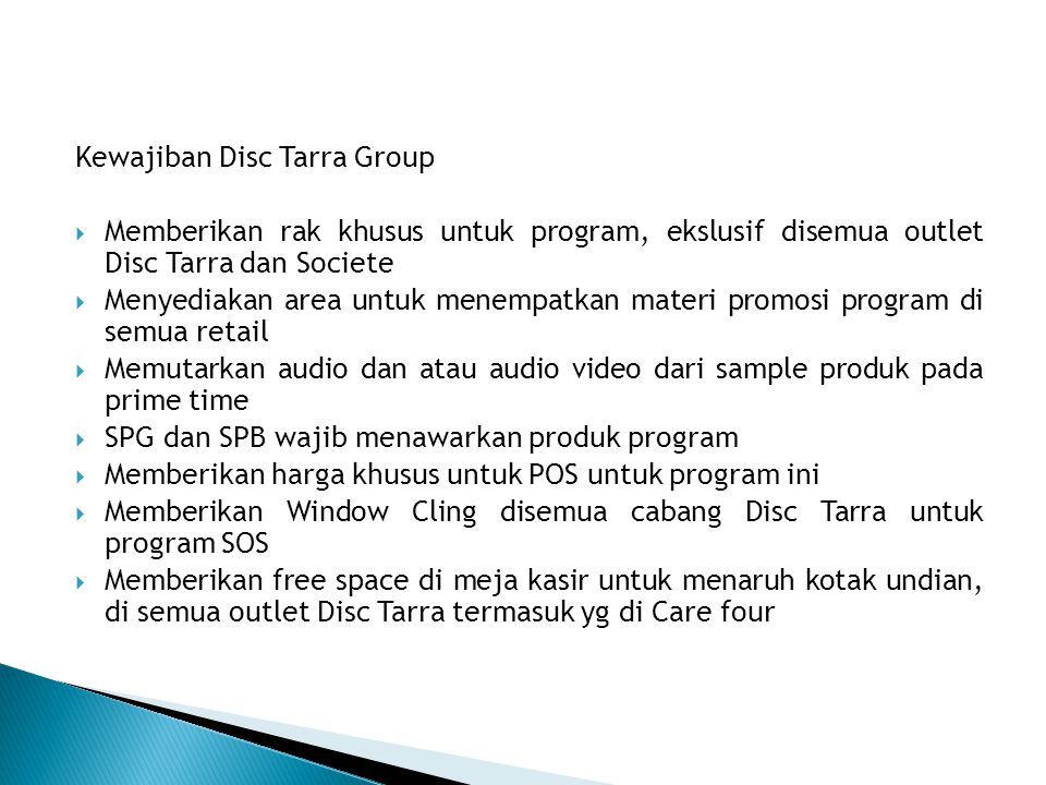 Kewajiban Disc Tarra Group