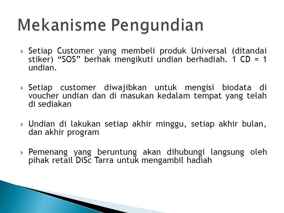 Mekanisme Pengundian Setiap Customer yang membeli produk Universal (ditandai stiker) SOS berhak mengikuti undian berhadiah. 1 CD = 1 undian.