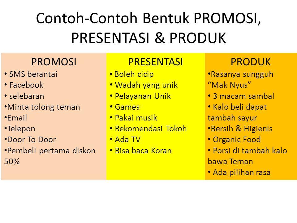 Contoh-Contoh Bentuk PROMOSI, PRESENTASI & PRODUK
