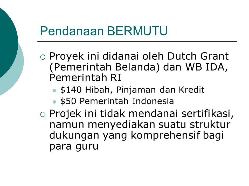 Pendanaan BERMUTU Proyek ini didanai oleh Dutch Grant (Pemerintah Belanda) dan WB IDA, Pemerintah RI.