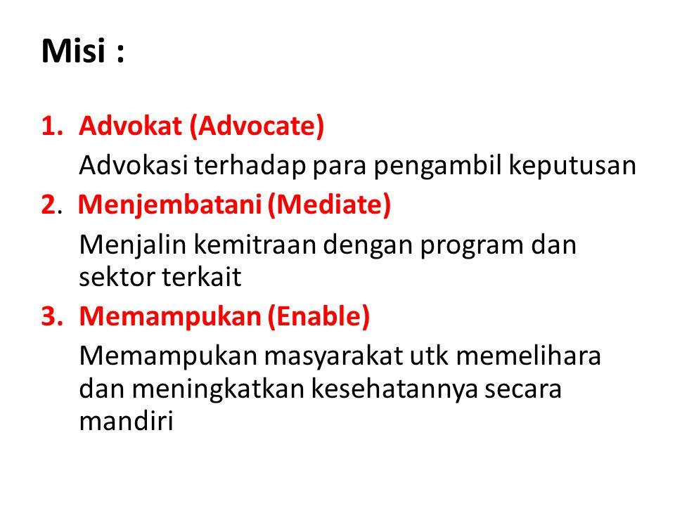 Misi : Advokat (Advocate) Advokasi terhadap para pengambil keputusan