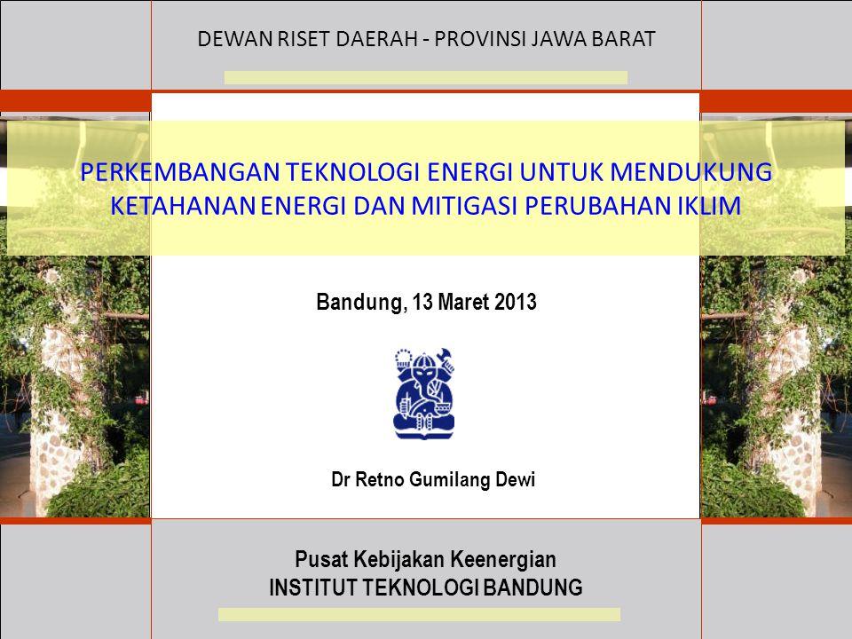 Pusat Kebijakan Keenergian INSTITUT TEKNOLOGI BANDUNG