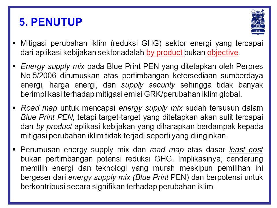 5. PENUTUP Mitigasi perubahan iklim (reduksi GHG) sektor energi yang tercapai dari aplikasi kebijakan sektor adalah by product bukan objective.
