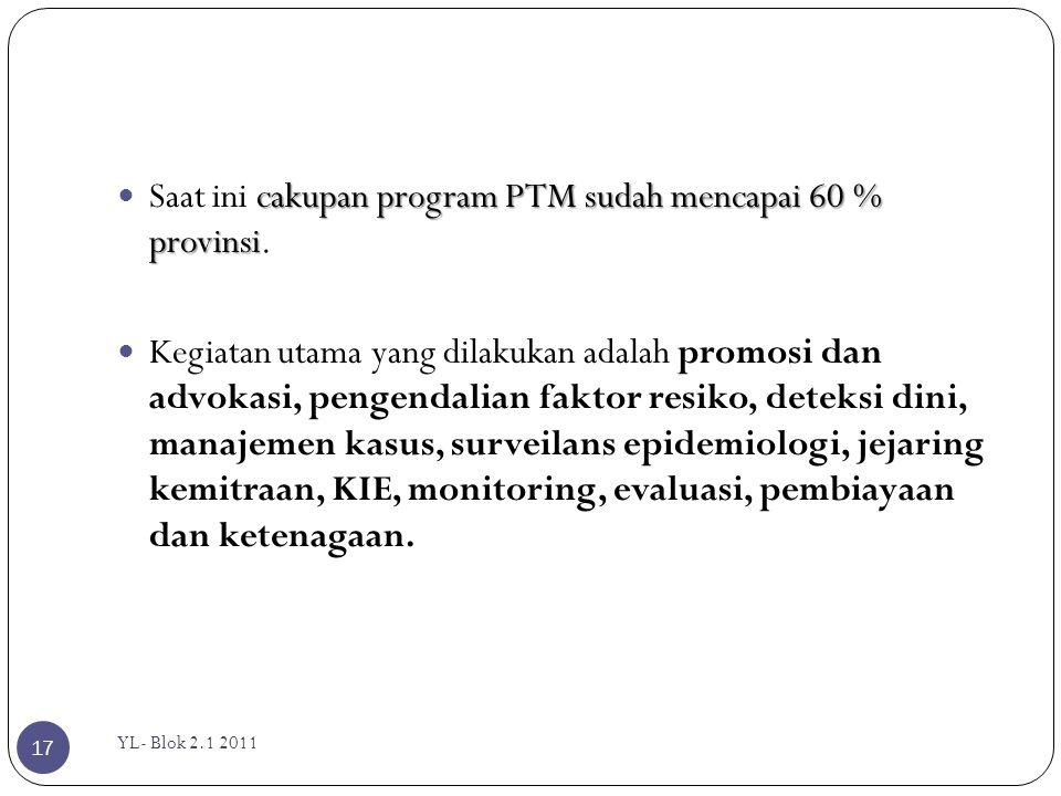 Saat ini cakupan program PTM sudah mencapai 60 % provinsi.