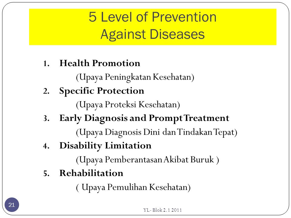 5 Level of Prevention Against Diseases