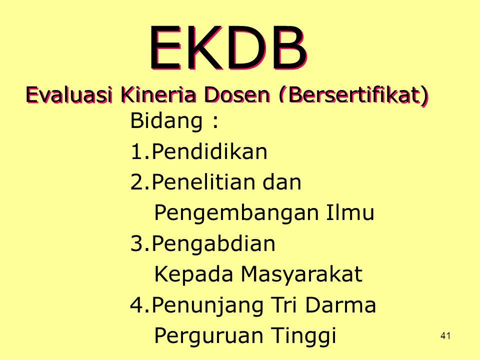 EKDB Evaluasi Kinerja Dosen (Bersertifikat) Bidang : Pendidikan
