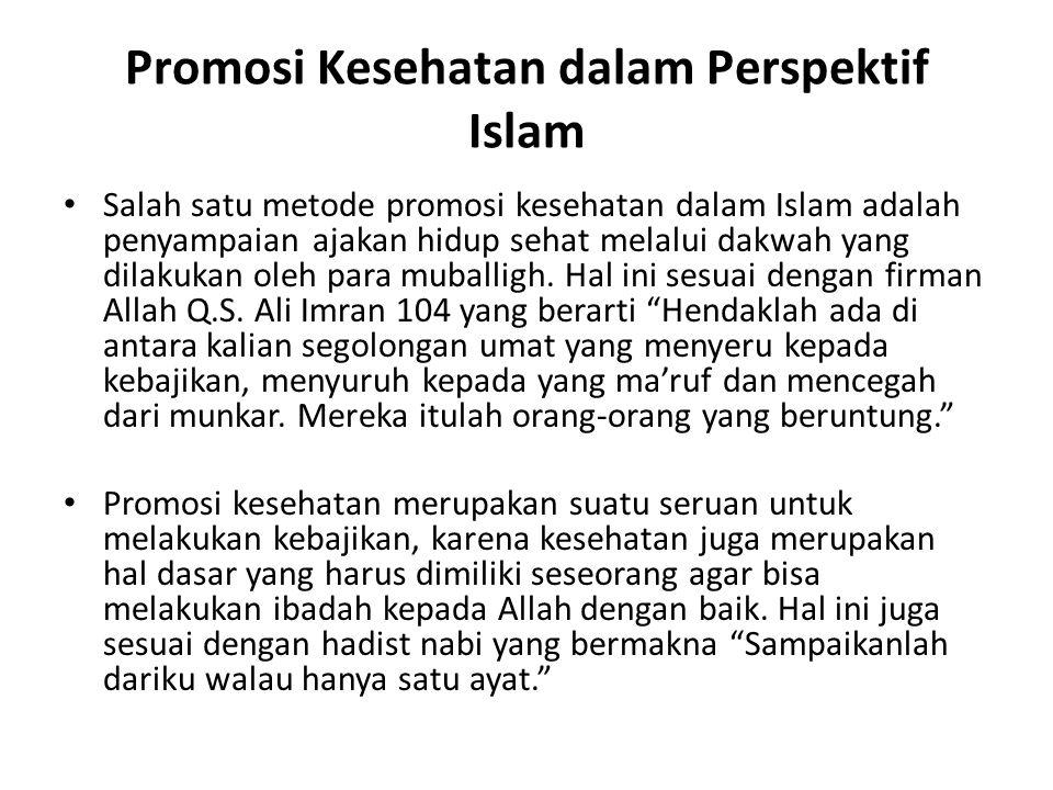 Promosi Kesehatan dalam Perspektif Islam