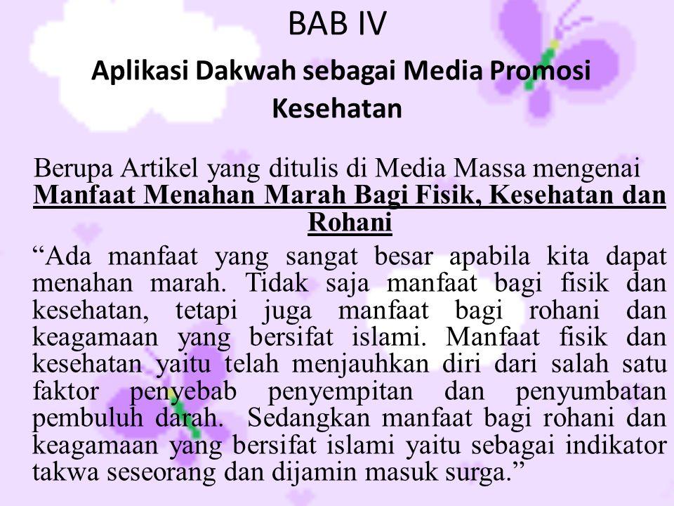 BAB IV Aplikasi Dakwah sebagai Media Promosi Kesehatan