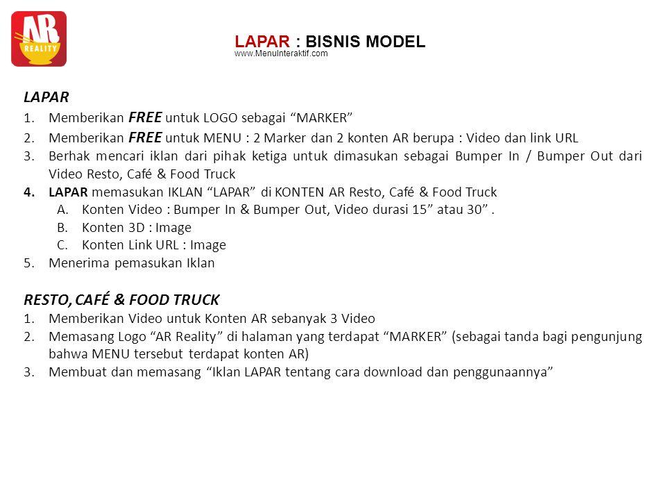LAPAR : BISNIS MODEL LAPAR RESTO, CAFÉ & FOOD TRUCK