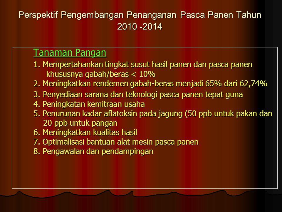 Perspektif Pengembangan Penanganan Pasca Panen Tahun 2010 -2014