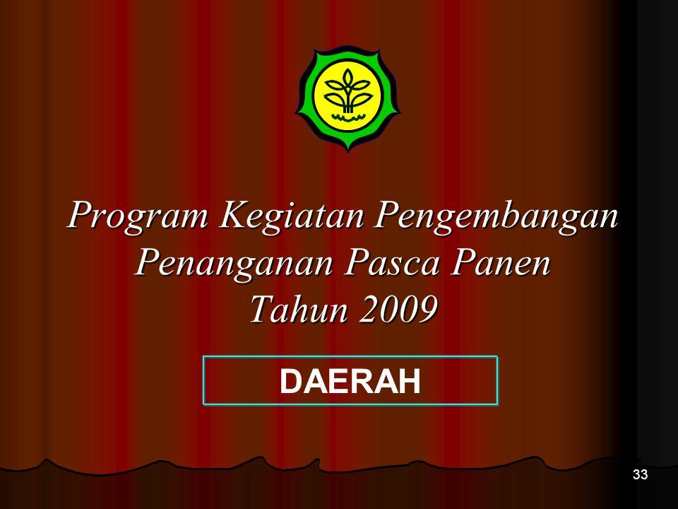 Program Kegiatan Pengembangan Penanganan Pasca Panen Tahun 2009