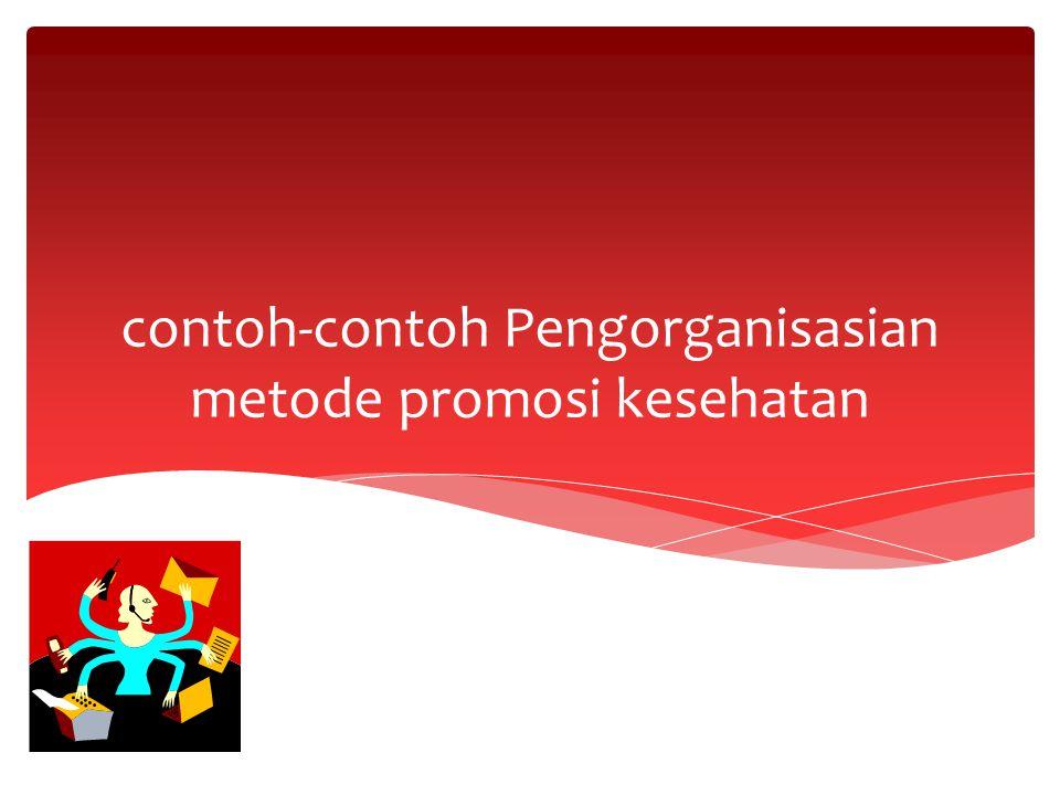 contoh-contoh Pengorganisasian metode promosi kesehatan