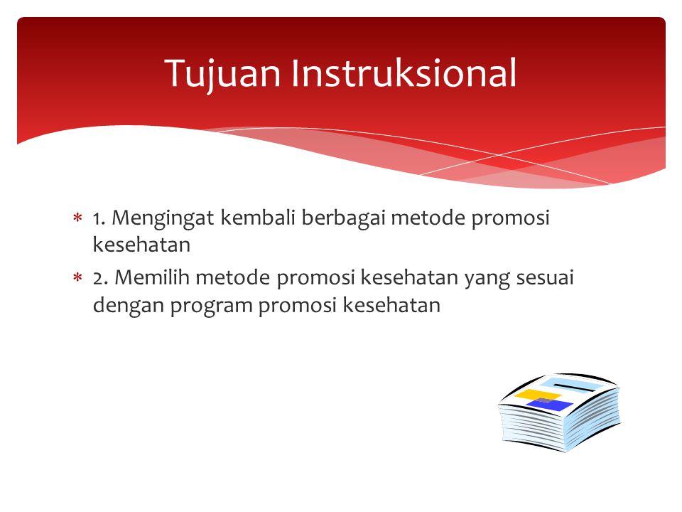 Tujuan Instruksional 1. Mengingat kembali berbagai metode promosi kesehatan.