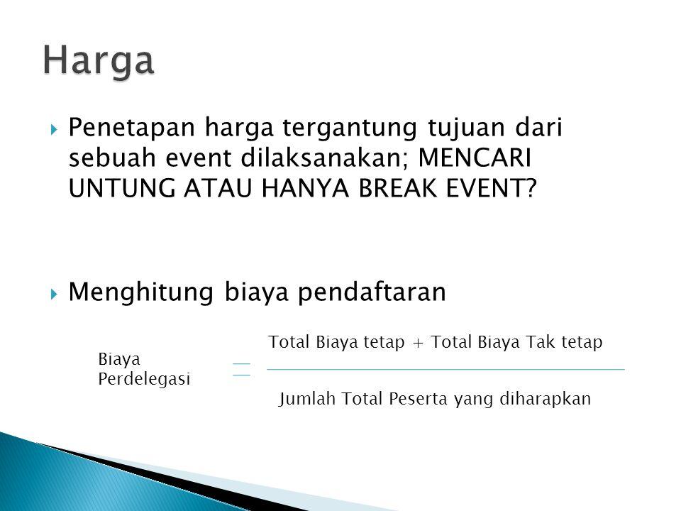 Harga Penetapan harga tergantung tujuan dari sebuah event dilaksanakan; MENCARI UNTUNG ATAU HANYA BREAK EVENT