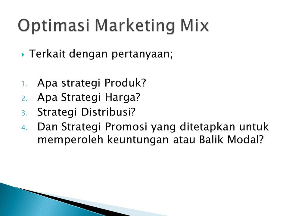 Optimasi Marketing Mix
