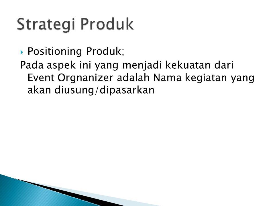 Strategi Produk Positioning Produk;