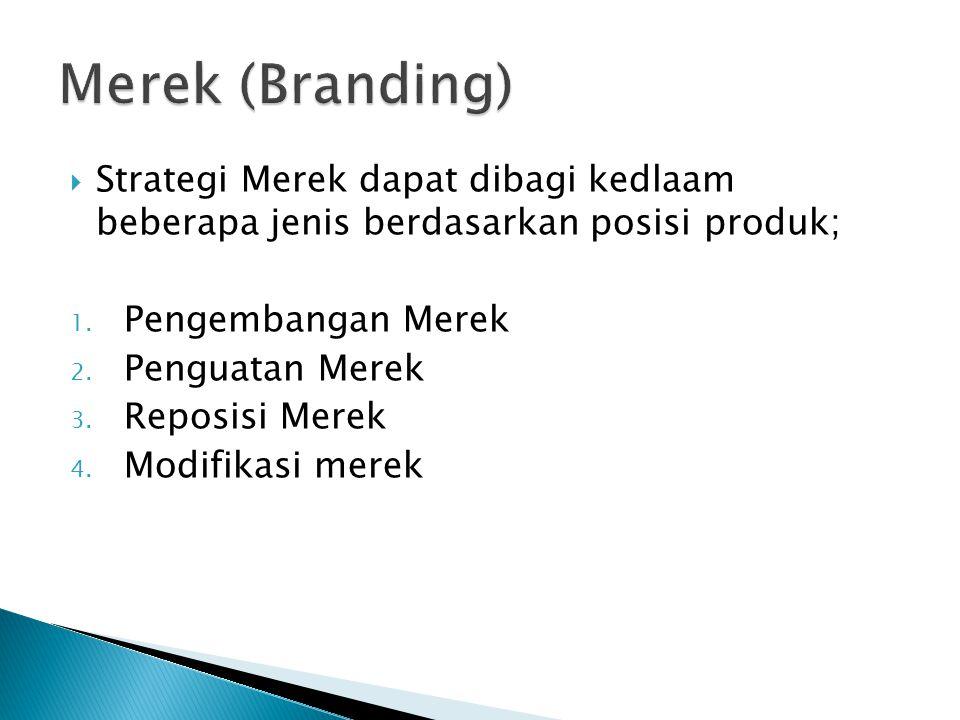 Merek (Branding) Strategi Merek dapat dibagi kedlaam beberapa jenis berdasarkan posisi produk; Pengembangan Merek.