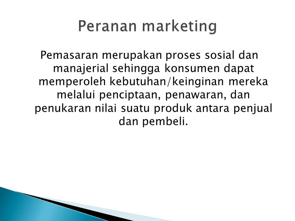 Peranan marketing