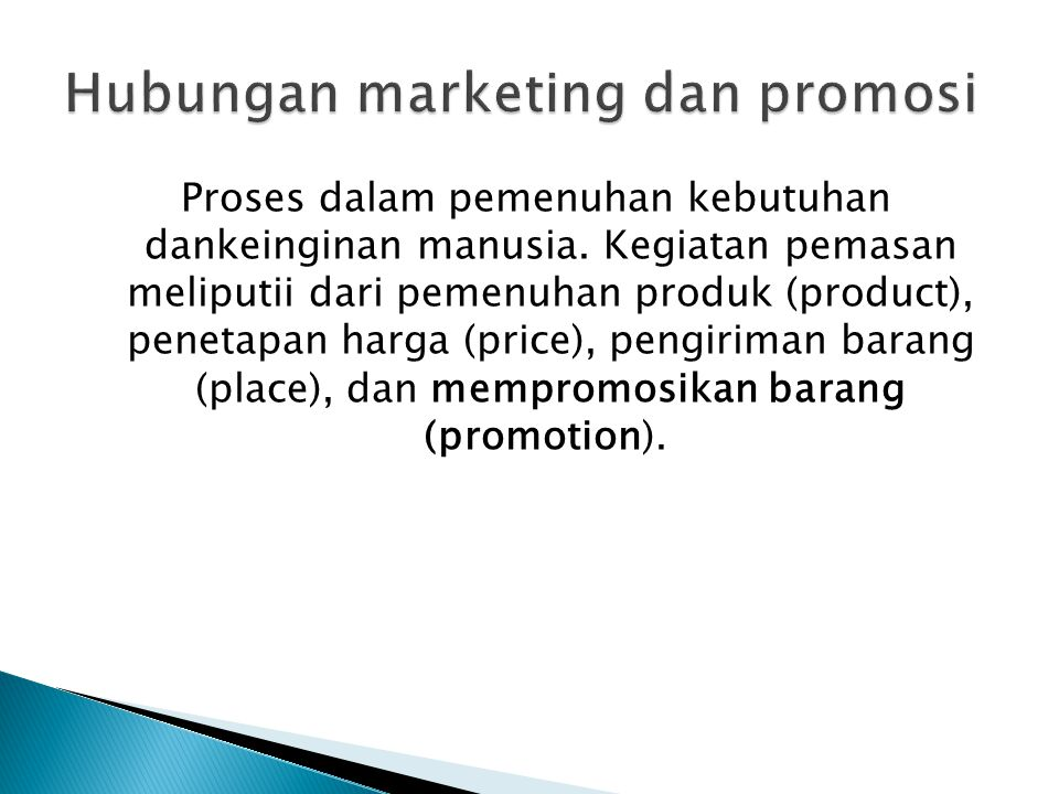 Hubungan marketing dan promosi