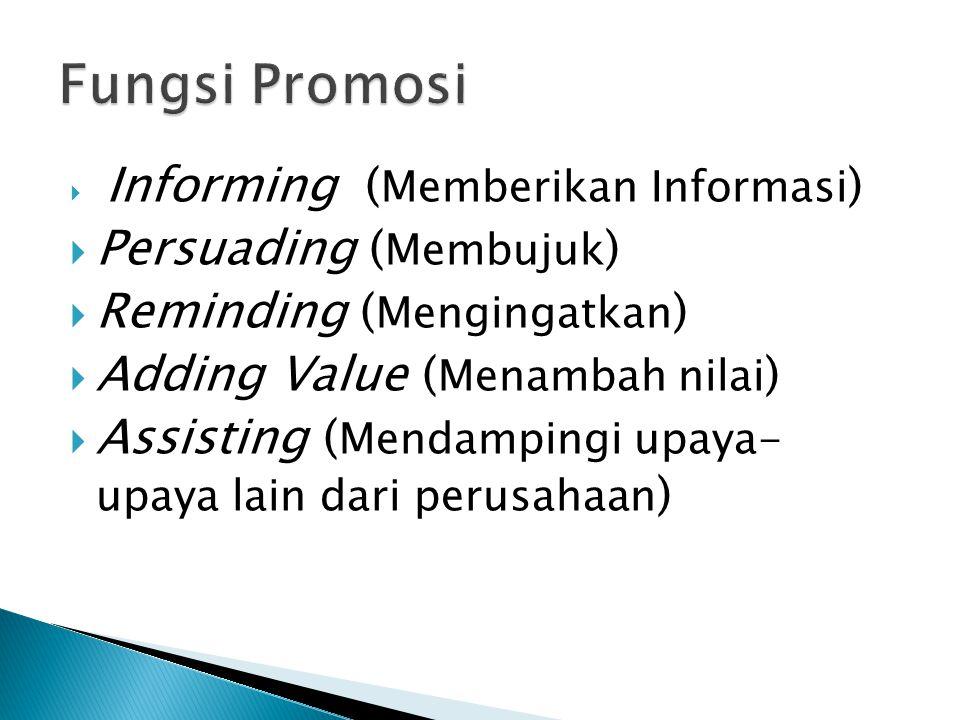 Fungsi Promosi Persuading (Membujuk) Reminding (Mengingatkan)