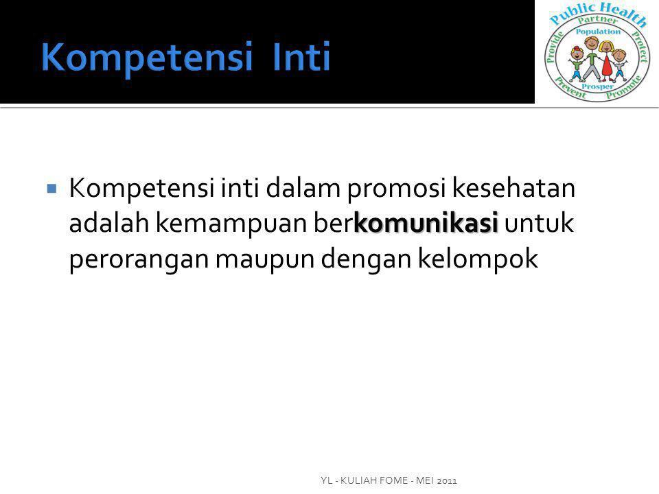 Kompetensi Inti Kompetensi inti dalam promosi kesehatan adalah kemampuan berkomunikasi untuk perorangan maupun dengan kelompok.