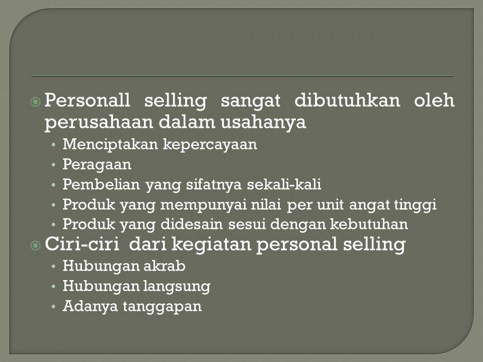 Personall selling sangat dibutuhkan oleh perusahaan dalam usahanya