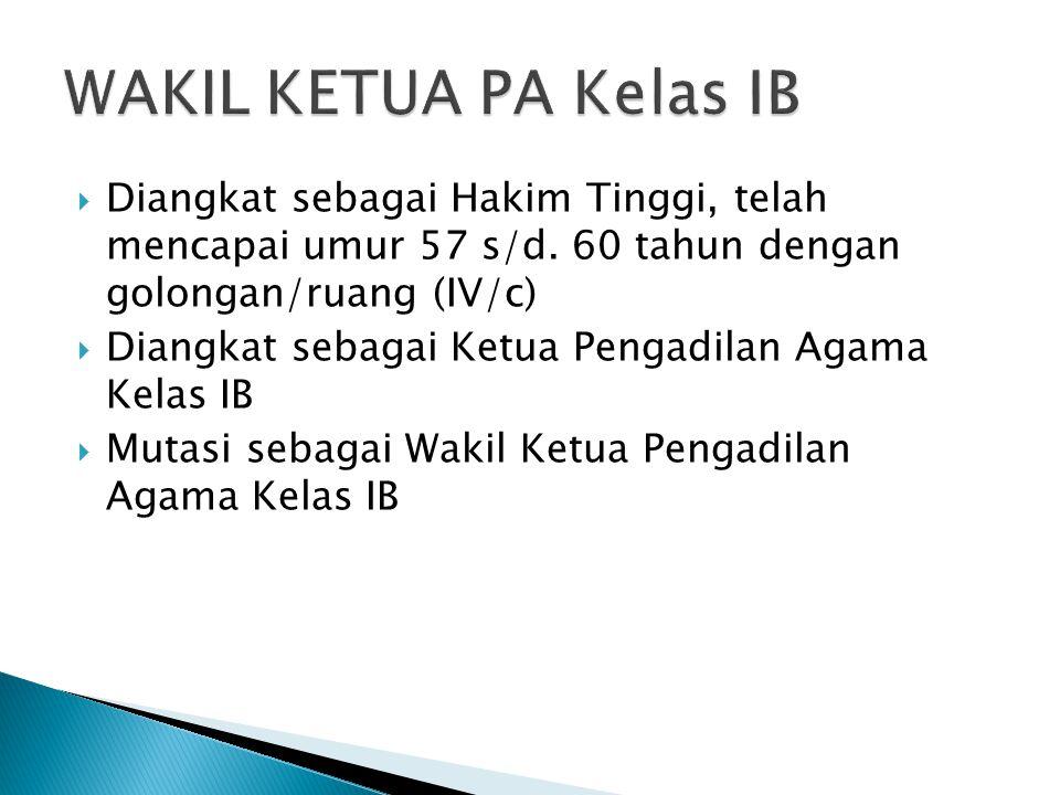 WAKIL KETUA PA Kelas IB Diangkat sebagai Hakim Tinggi, telah mencapai umur 57 s/d. 60 tahun dengan golongan/ruang (IV/c)