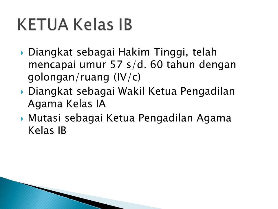 KETUA Kelas IB Diangkat sebagai Hakim Tinggi, telah mencapai umur 57 s/d. 60 tahun dengan golongan/ruang (IV/c)