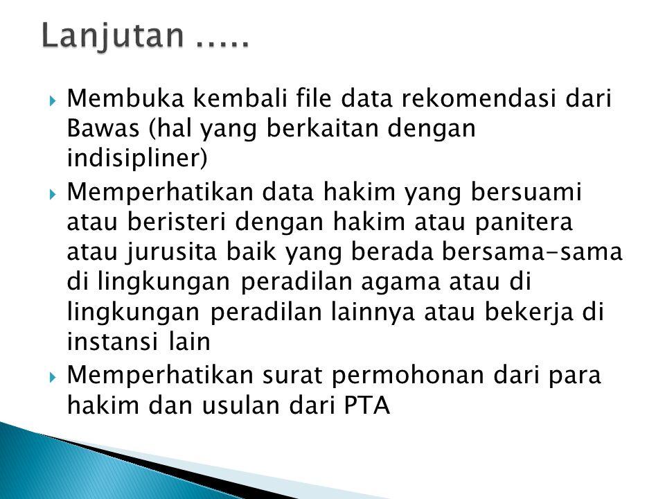 Lanjutan ..... Membuka kembali file data rekomendasi dari Bawas (hal yang berkaitan dengan indisipliner)