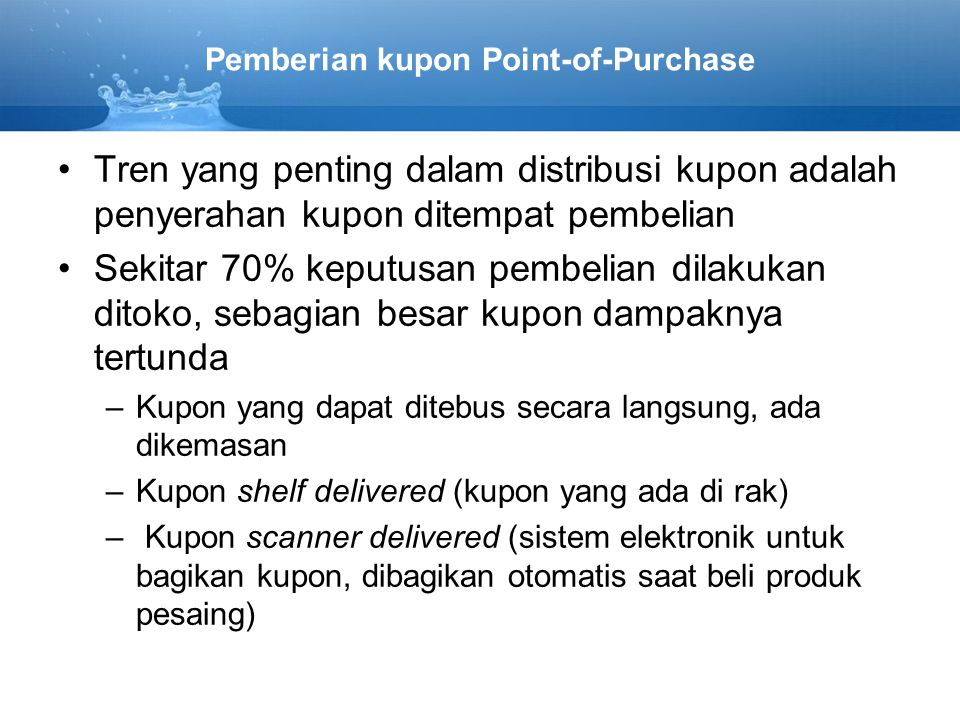 Pemberian kupon Point-of-Purchase