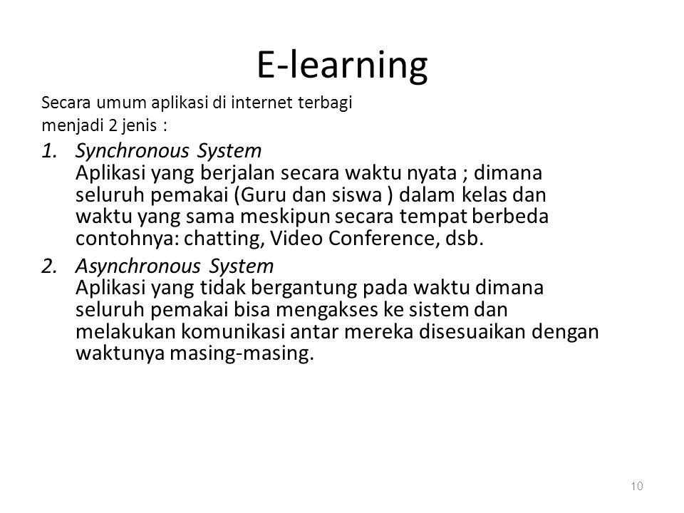 E-learning Secara umum aplikasi di internet terbagi. menjadi 2 jenis :
