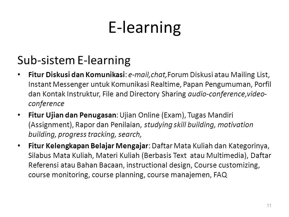 E-learning Sub-sistem E-learning
