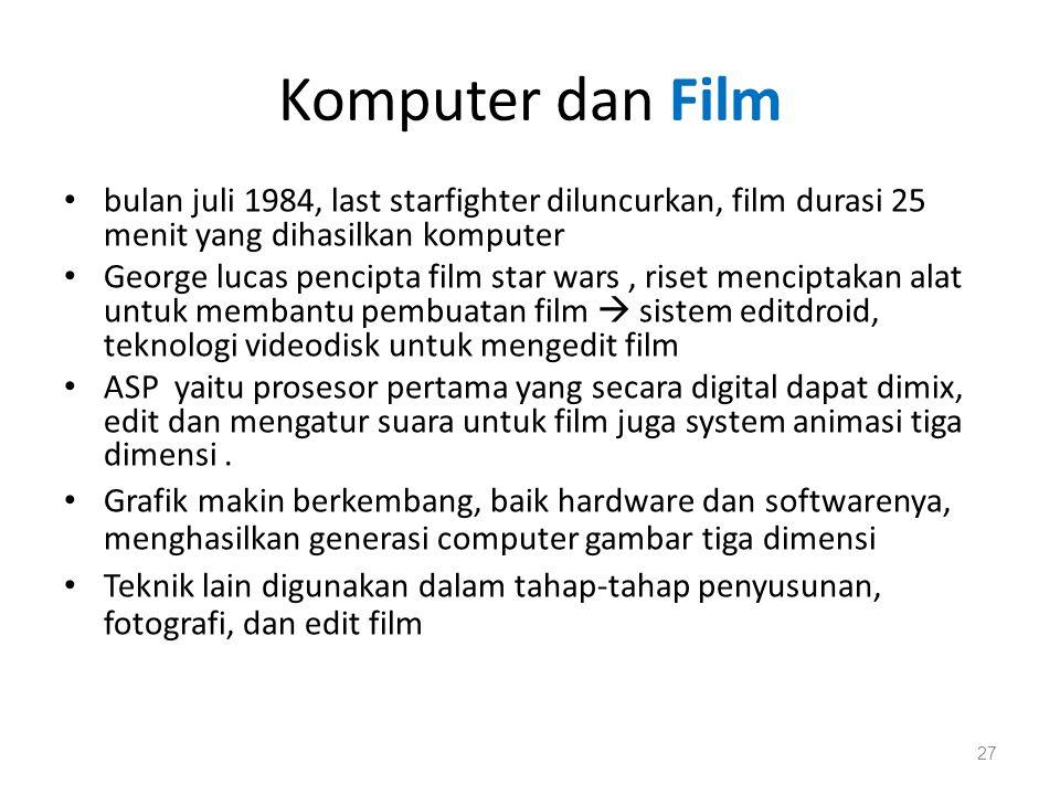 Komputer dan Film bulan juli 1984, last starfighter diluncurkan, film durasi 25 menit yang dihasilkan komputer.
