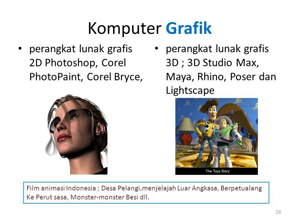 Komputer Grafik perangkat lunak grafis 2D Photoshop, Corel PhotoPaint, Corel Bryce,
