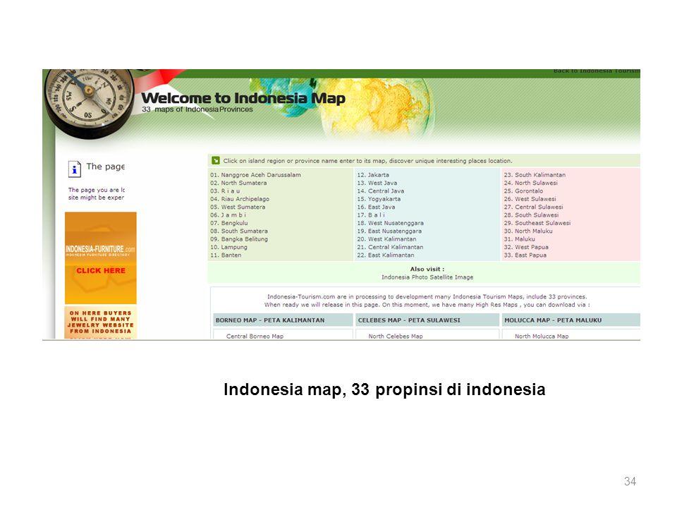 Indonesia map, 33 propinsi di indonesia