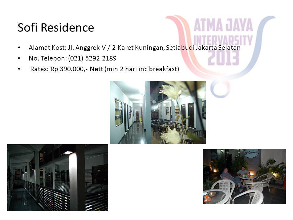 Sofi Residence Alamat Kost: Jl. Anggrek V / 2 Karet Kuningan, Setiabudi Jakarta Selatan. No. Telepon: (021) 5292 2189.