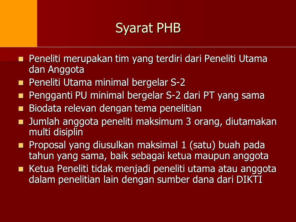 Syarat PHB Peneliti merupakan tim yang terdiri dari Peneliti Utama dan Anggota. Peneliti Utama minimal bergelar S-2.