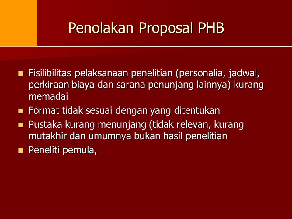 Penolakan Proposal PHB