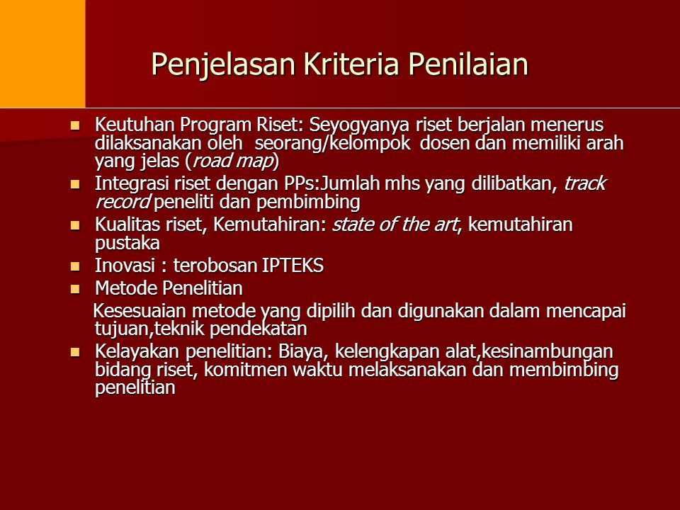 Penjelasan Kriteria Penilaian