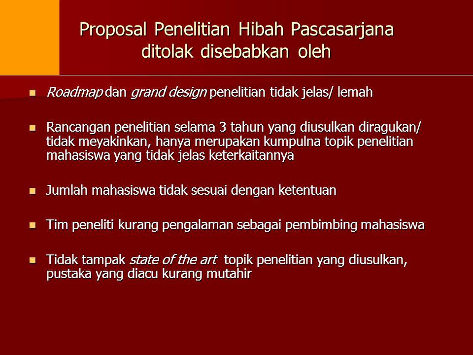 Proposal Penelitian Hibah Pascasarjana ditolak disebabkan oleh